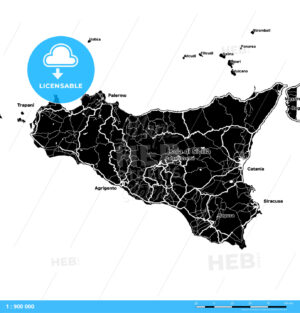 Sicily, Italy, Vector Map - HEBSTREITS