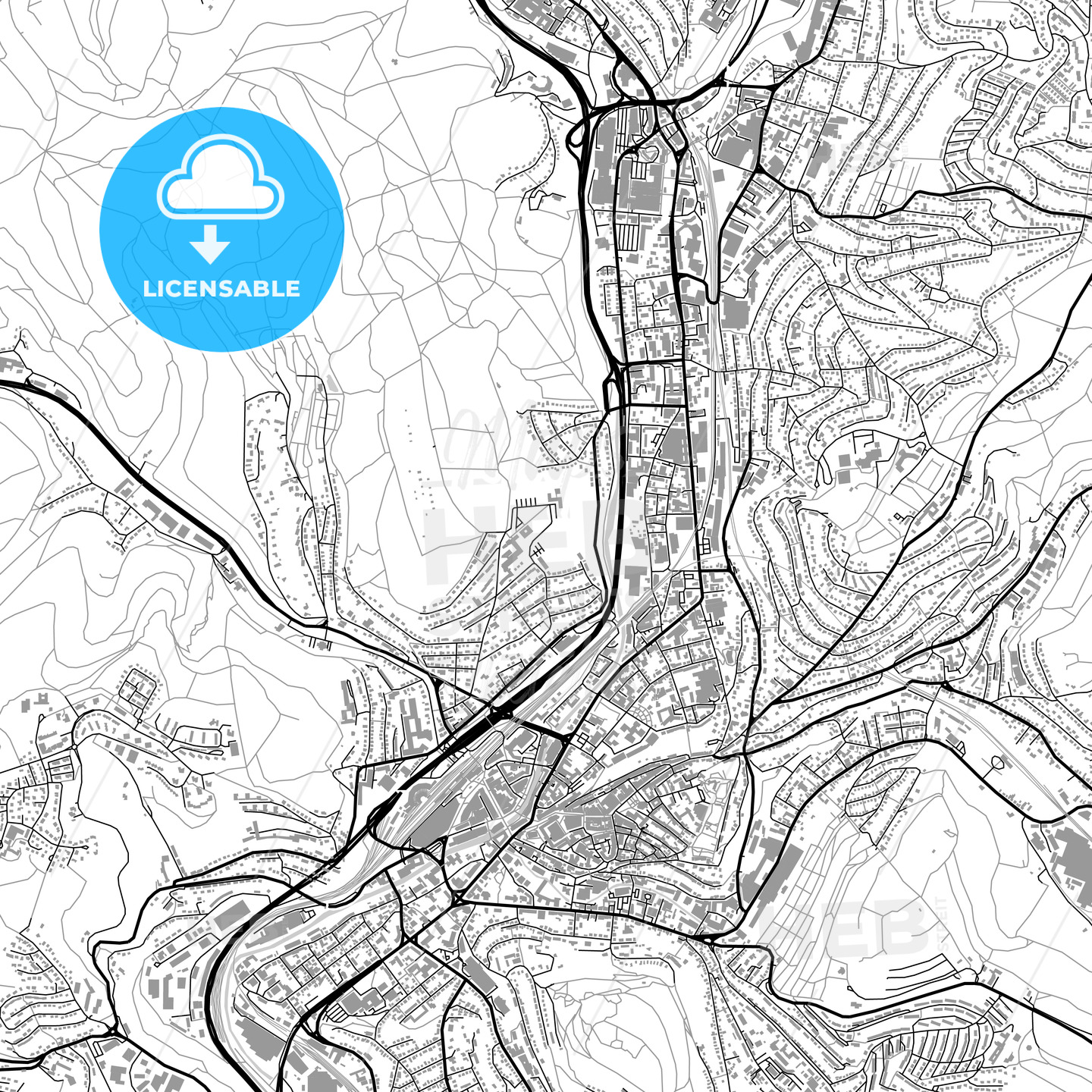 Siegen Germany vector map with buildings HEBSTREITS