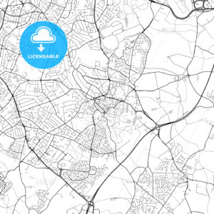 Solihull, England, UK, Vector Map – Light - HEBSTREITS