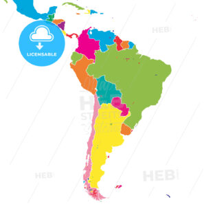 South America colorful vector map - HEBSTREITS