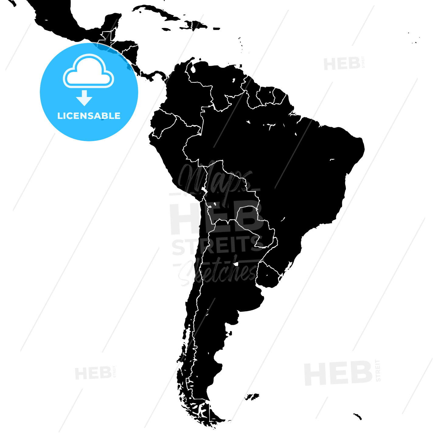 South America silhouette vector map - HEBSTREITS