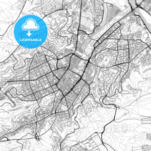 Stuttgart, Germany, vector map with buildings - HEBSTREITS