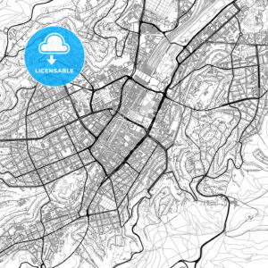 Stuttgart, downtown, vector map with buildings - HEBSTREITS