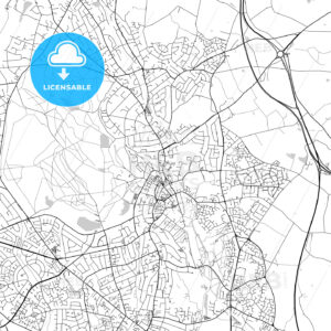 Sutton Coldfield, England, UK, Vector Map – Light - HEBSTREITS