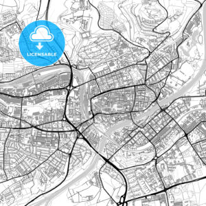 Ulm, Germany, vector map with buildings - HEBSTREITS