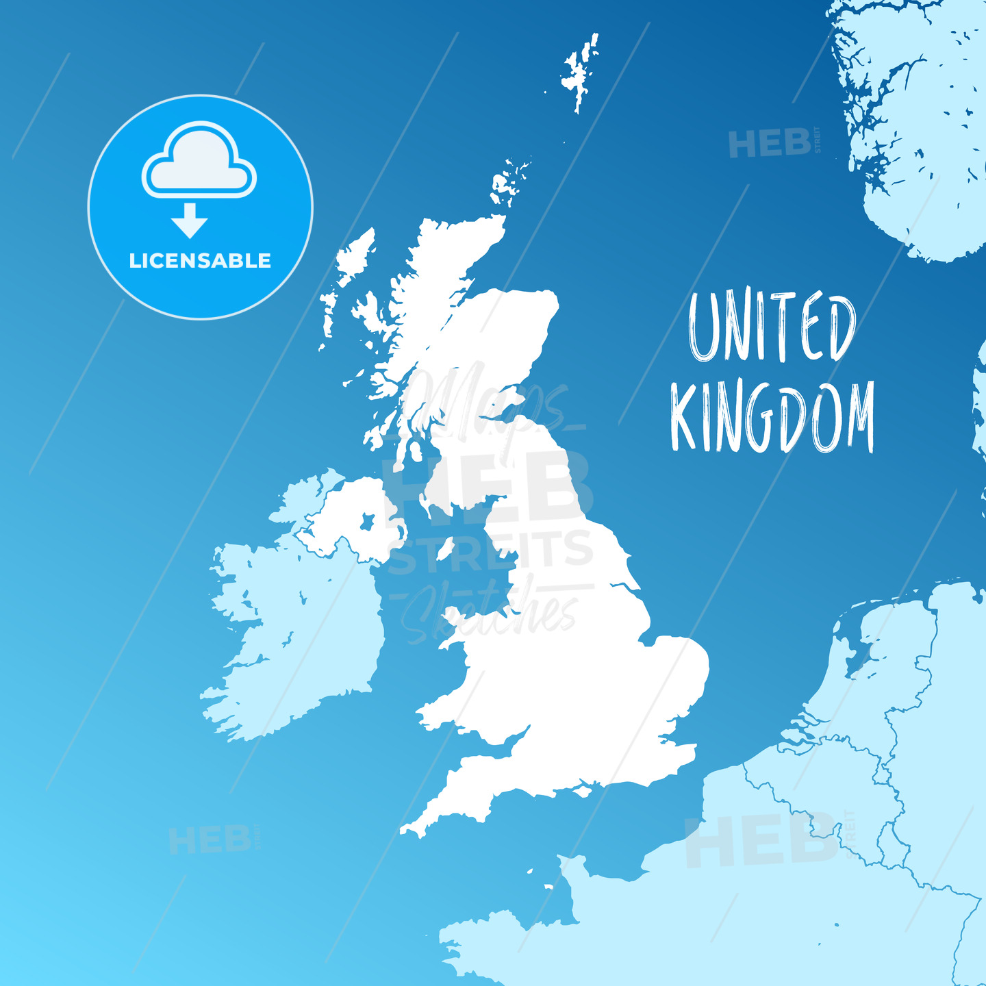 United Kingdom Vector Map - HEBSTREITS