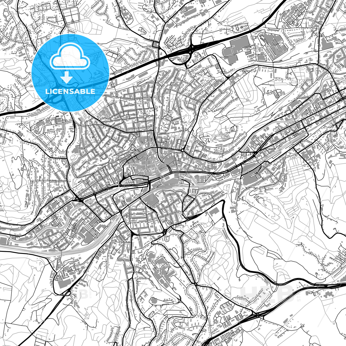 Wuppertal Germany vector map with buildings HEBSTREITS
