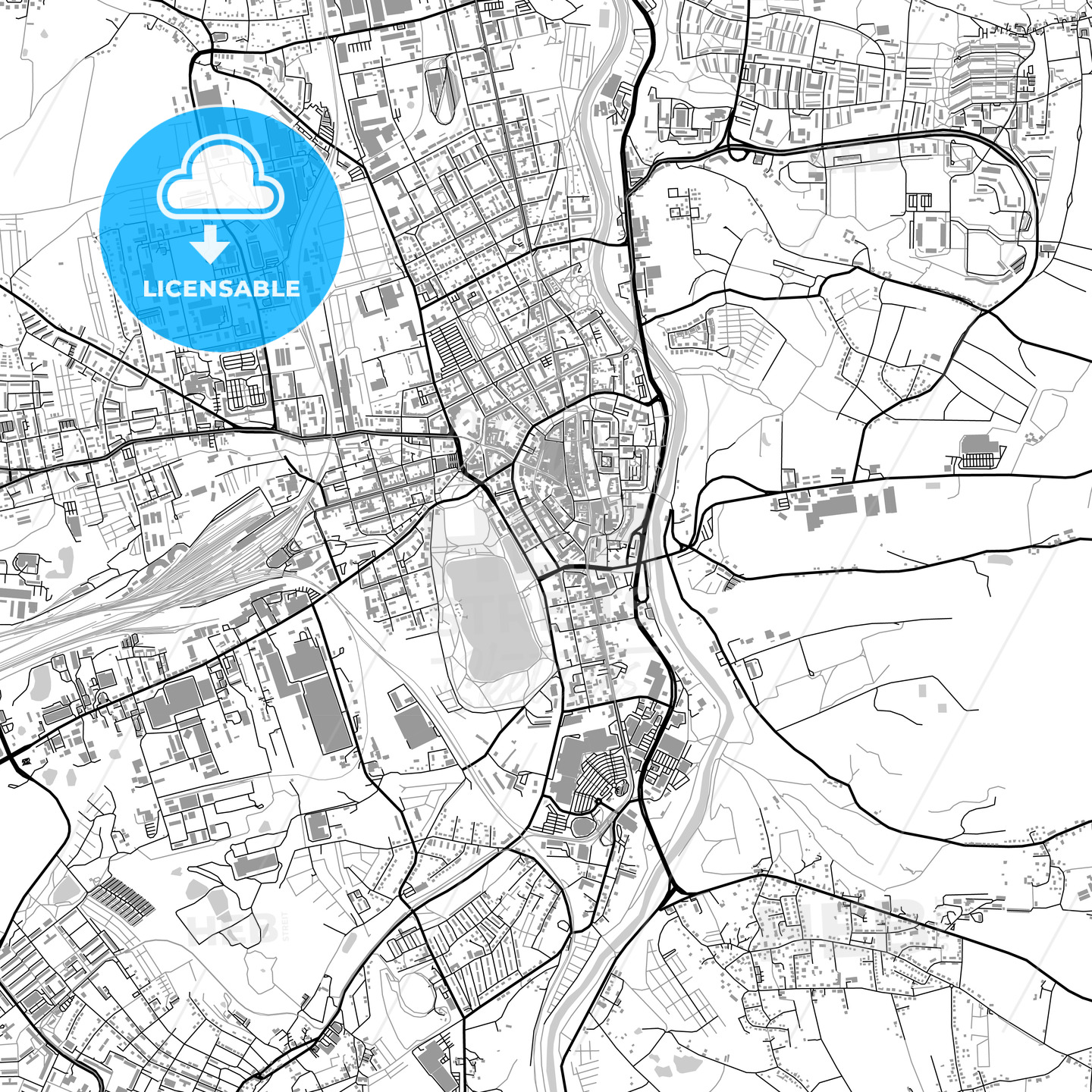 Zwickau Germany vector map with buildings HEBSTREITS