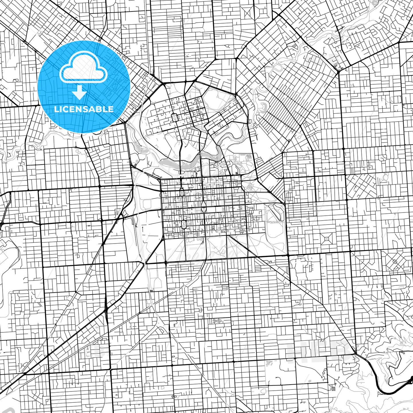 Adelaide, South Australia – Downtown Vector Map - HEBSTREITS