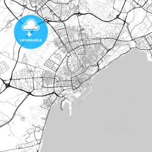 Alicante, Spain – Downtown Vector Map - HEBSTREITS
