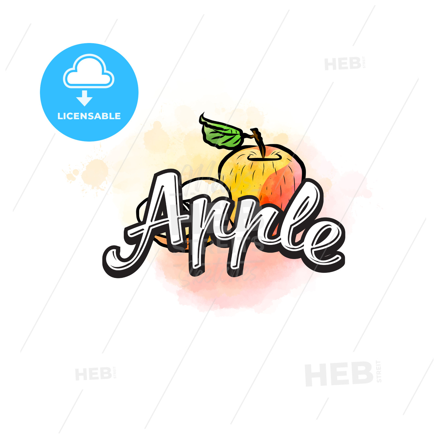Apple colorful label sign - HEBSTREITS