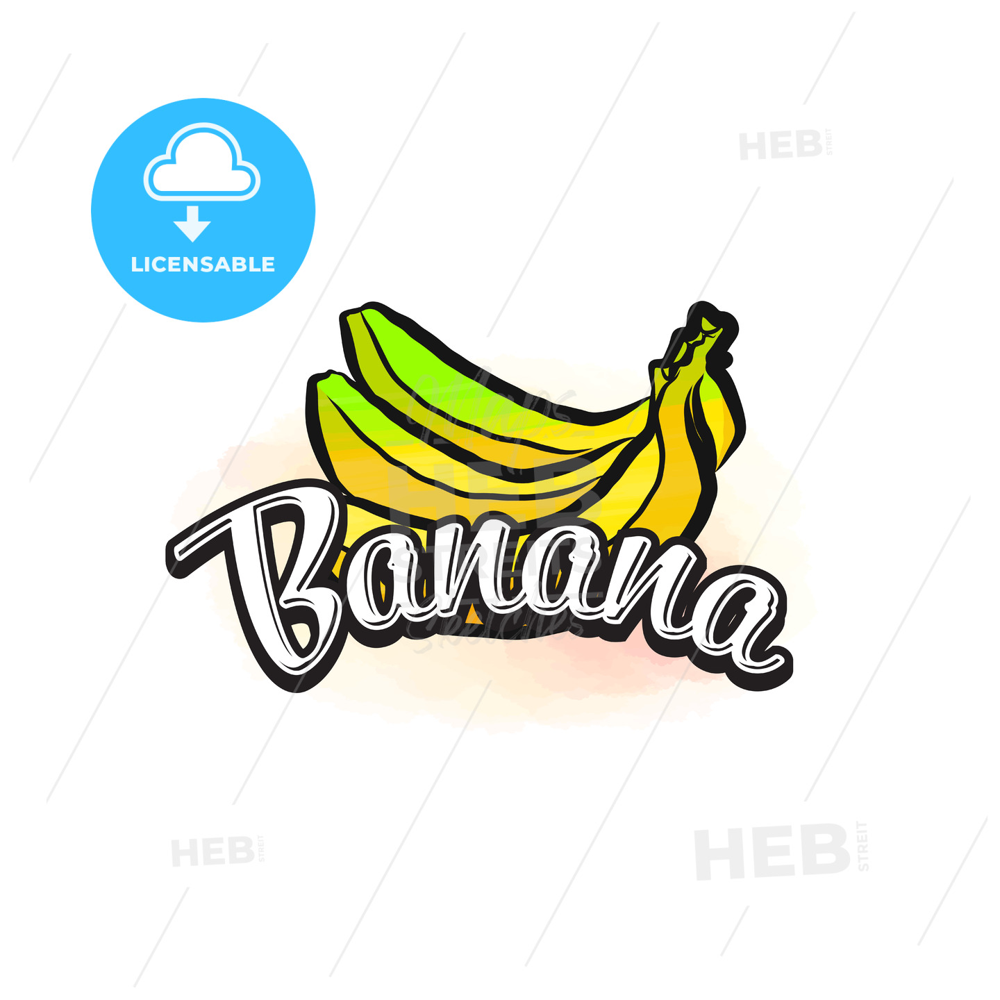 Banana colorful label sign - HEBSTREITS