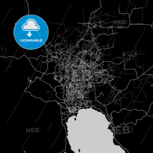 Bandar Lampung, Lampung, Area Map, Dark - HEBSTREITS
