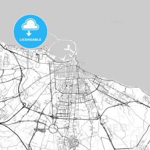Bari, Apulia, Downtown Vector Map - HEBSTREITS
