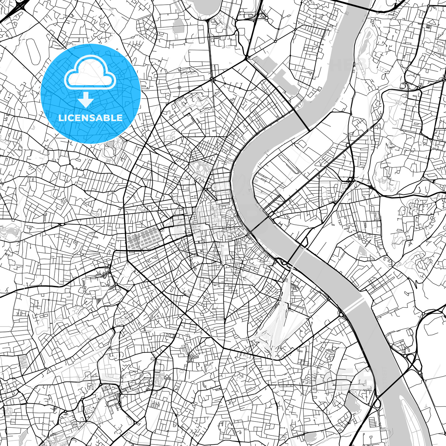 Bordeaux, Gironde, Downtown Vector Map - HEBSTREITS