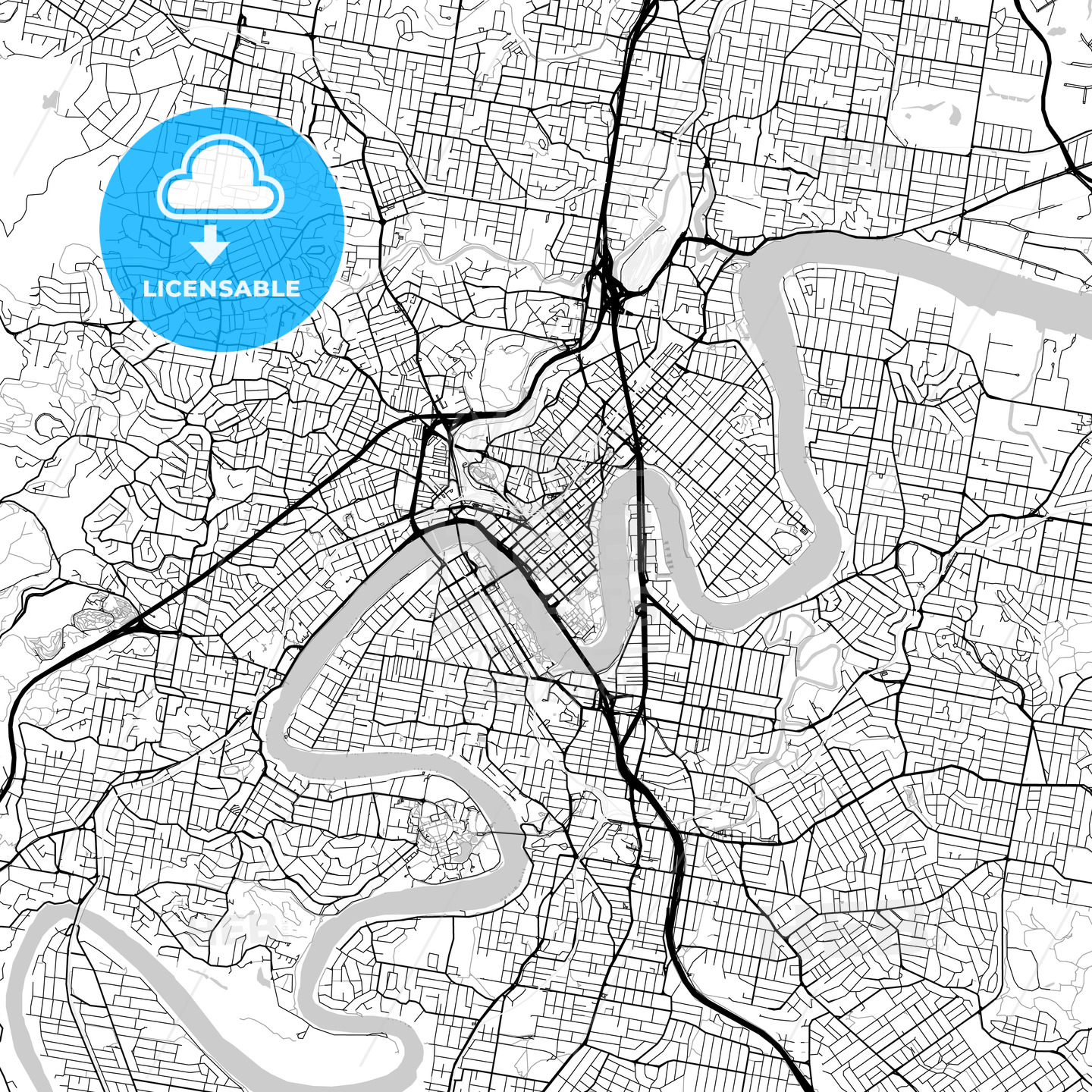 Brisbane, Queensland – Downtown Vector Map - HEBSTREITS