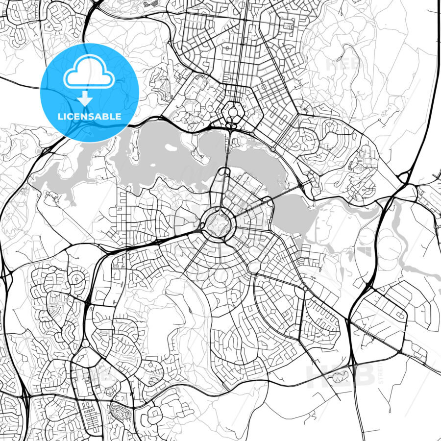 Canberra, Australian Capital Territory, New South Wales, Queanbeyan – Downtown Vector Map - HEBSTREITS