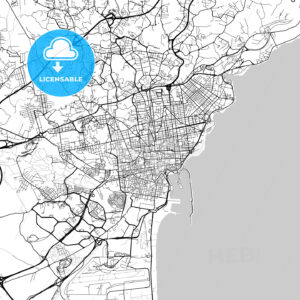 Catania, Sicily, Downtown Vector Map - HEBSTREITS