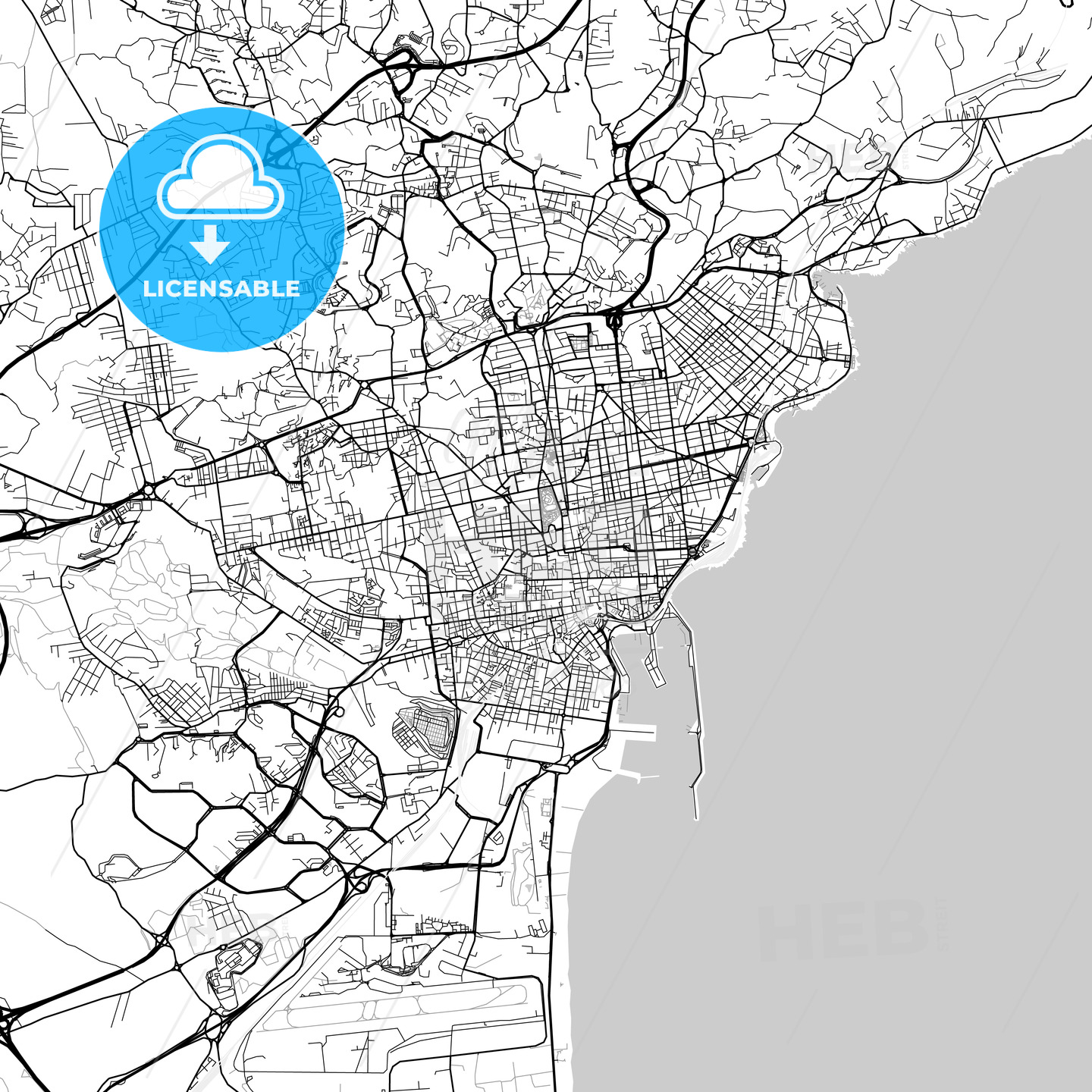 Catania Sicily downtown map light HEBSTREITS