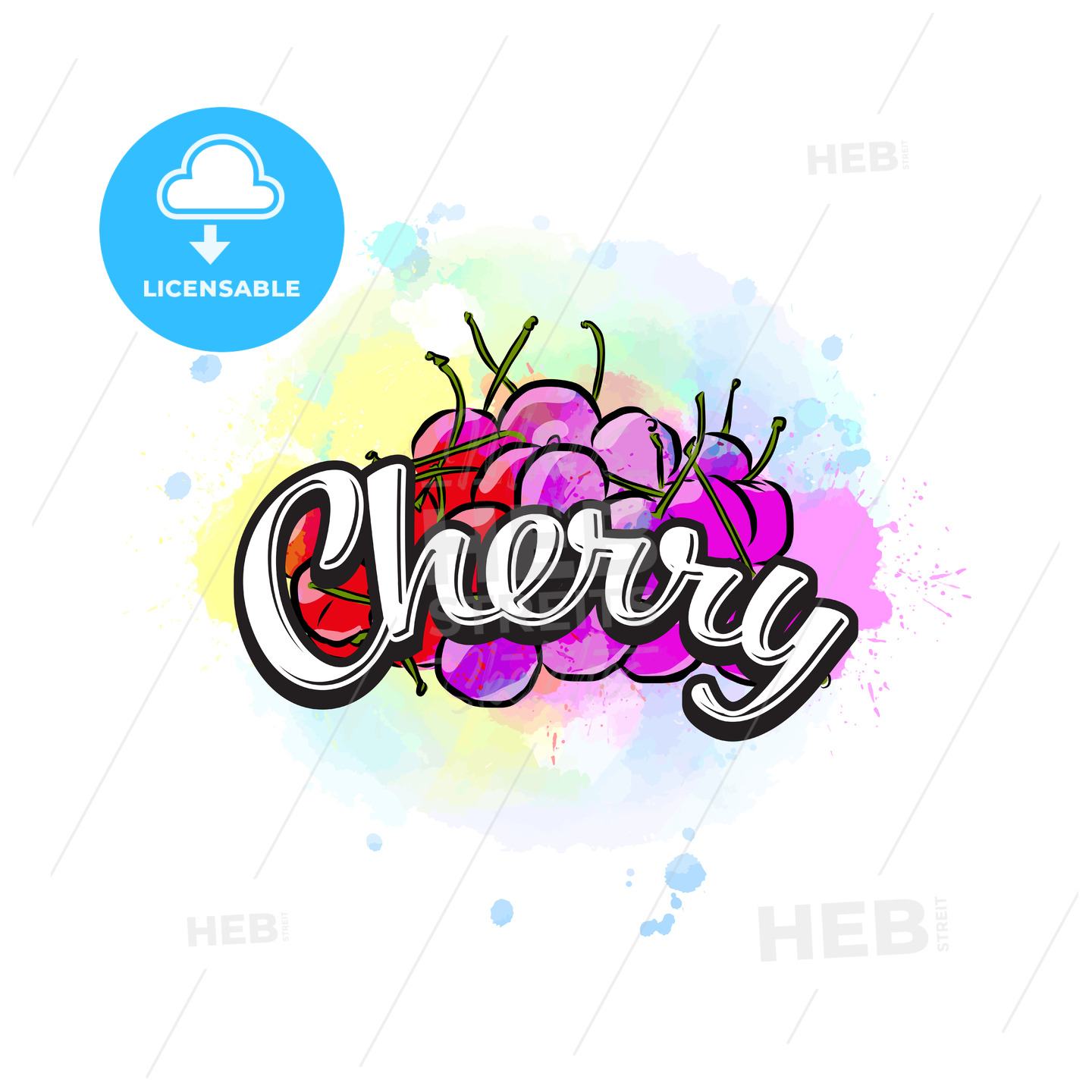Cherry colorful label sign - HEBSTREITS
