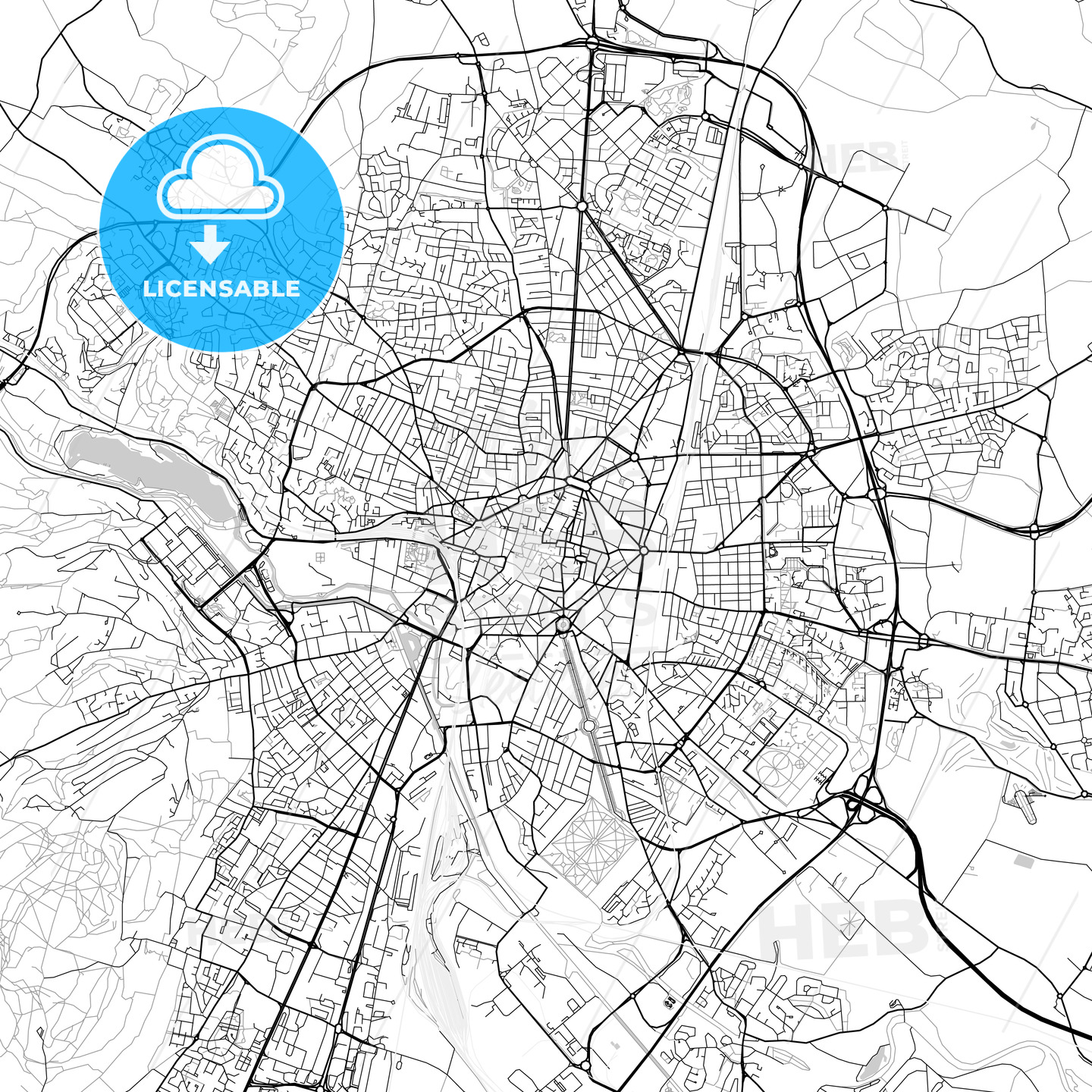Dijon, Côte-d'Or, Downtown Vector Map - HEBSTREITS