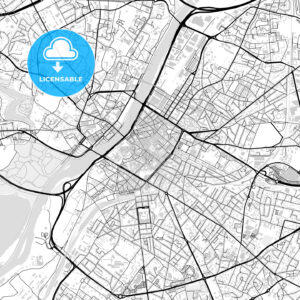 Downtown vector map of Angers - HEBSTREITS