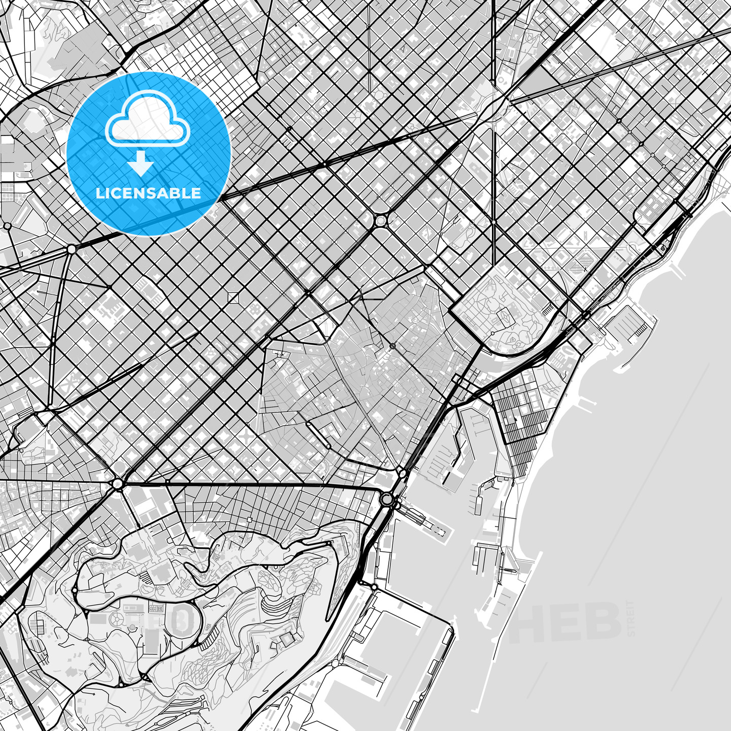 Downtown vector map of Barcelona - HEBSTREITS