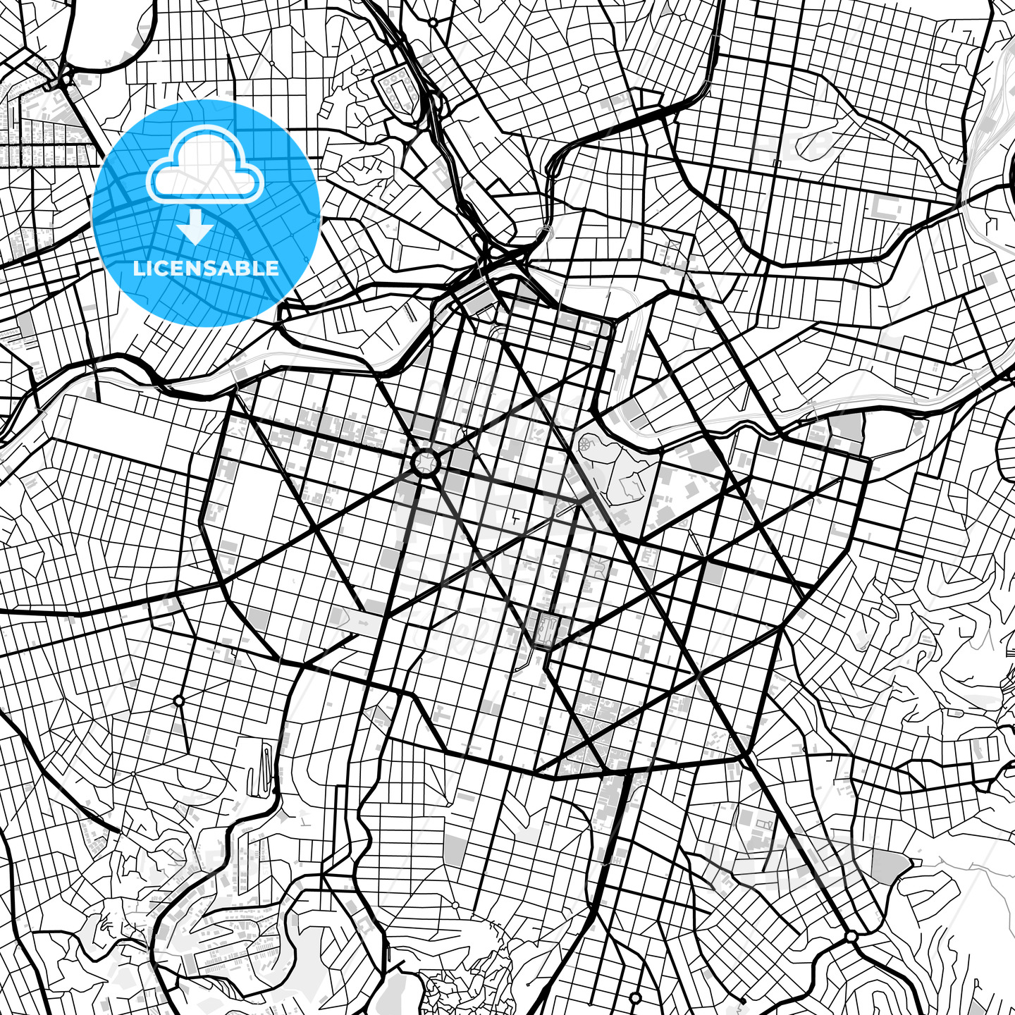 Downtown vector map of Belo Horizonte HEBSTREITS
