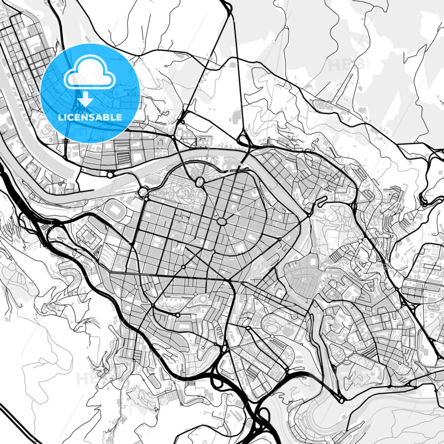 Downtown vector map of Bilbao - HEBSTREITS