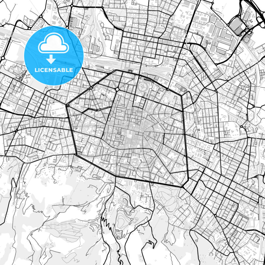 Downtown vector map of Bologna - HEBSTREITS