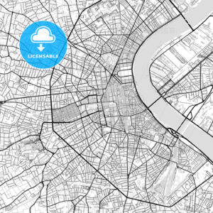Downtown vector map of Bordeaux - HEBSTREITS