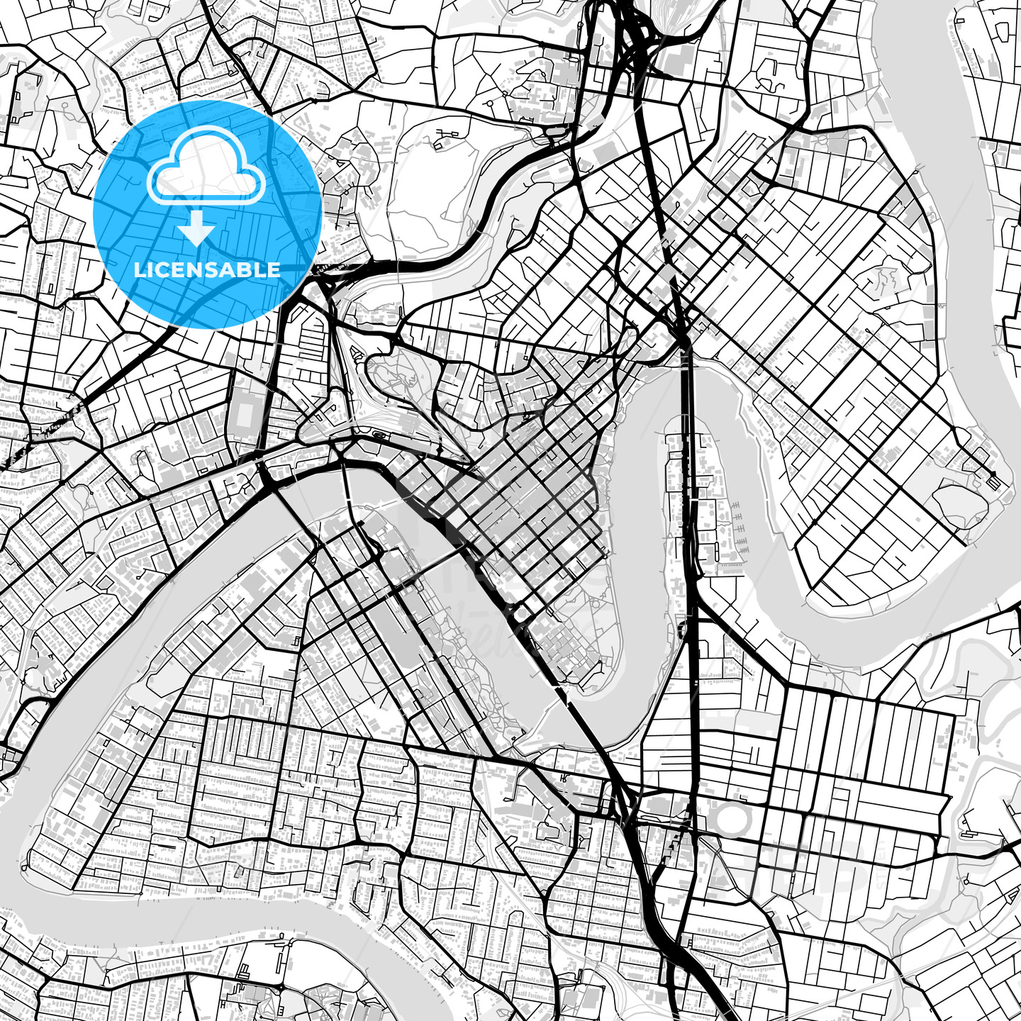 Downtown vector map of Brisbane - HEBSTREITS