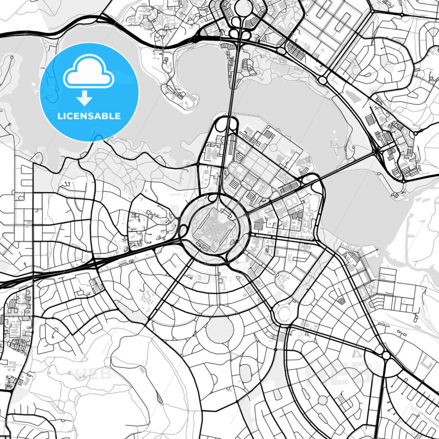 Downtown vector map of Canberra - HEBSTREITS