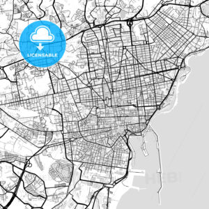 Downtown vector map of Catania - HEBSTREITS