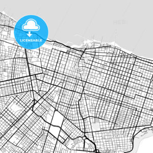 Downtown vector map of Fortaleza - HEBSTREITS