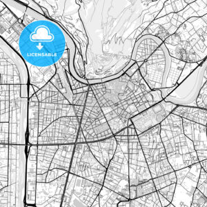 Downtown vector map of Grenoble - HEBSTREITS