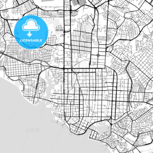 Downtown vector map of Manaus - HEBSTREITS