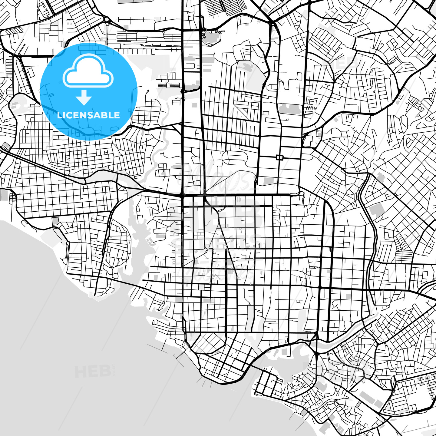 Downtown map of Manaus, light | HEBSTREITS Sketches
