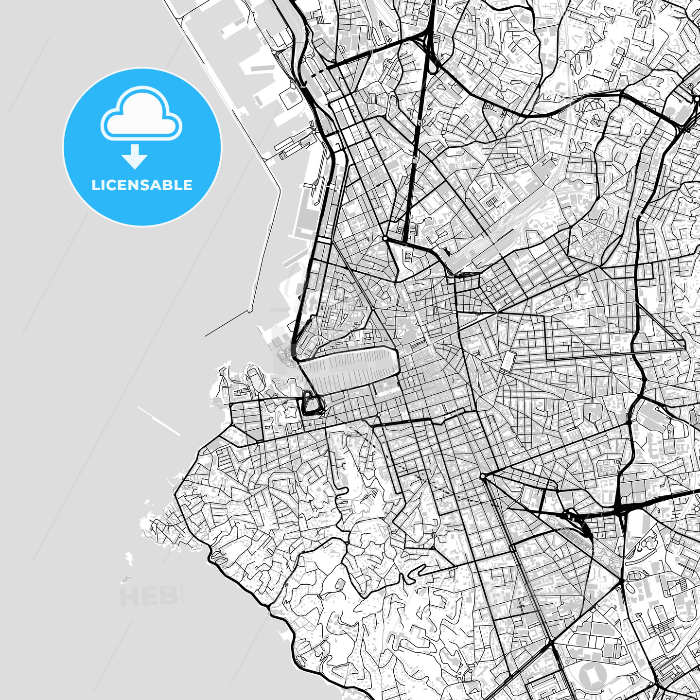 Downtown map of Marseille light HEBSTREITS