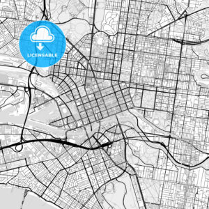Downtown vector map of Melbourne - HEBSTREITS