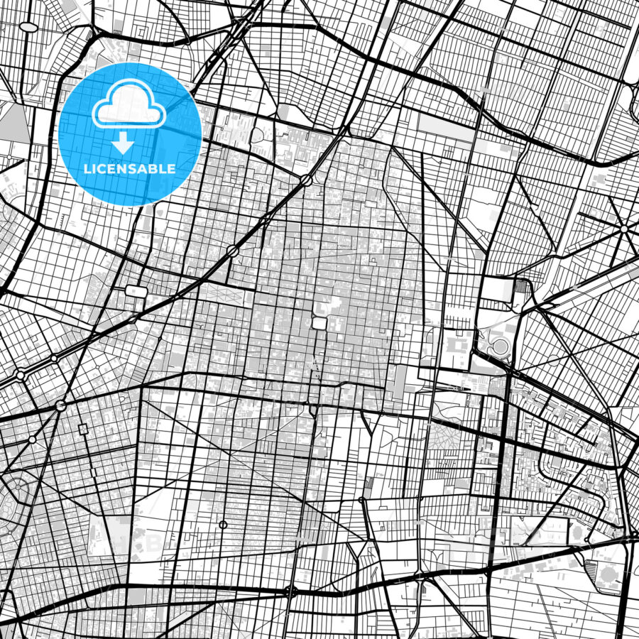 Downtown vector map of Mexico City - HEBSTREITS