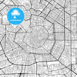 Downtown vector map of Milan - HEBSTREITS