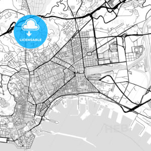Downtown vector map of Naples - HEBSTREITS