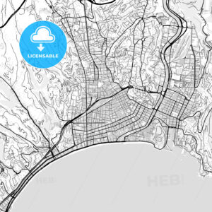 Downtown vector map of Nice - HEBSTREITS