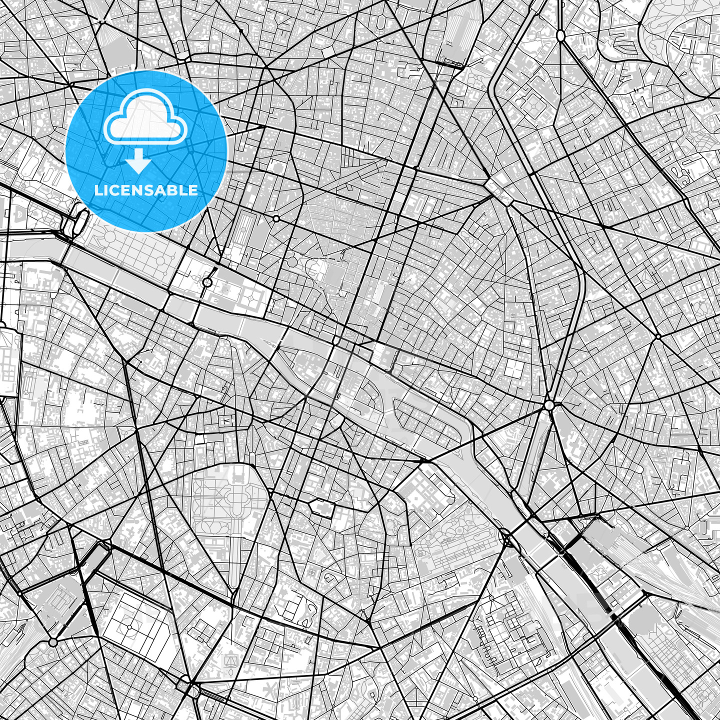 Downtown vector map of Paris - HEBSTREITS