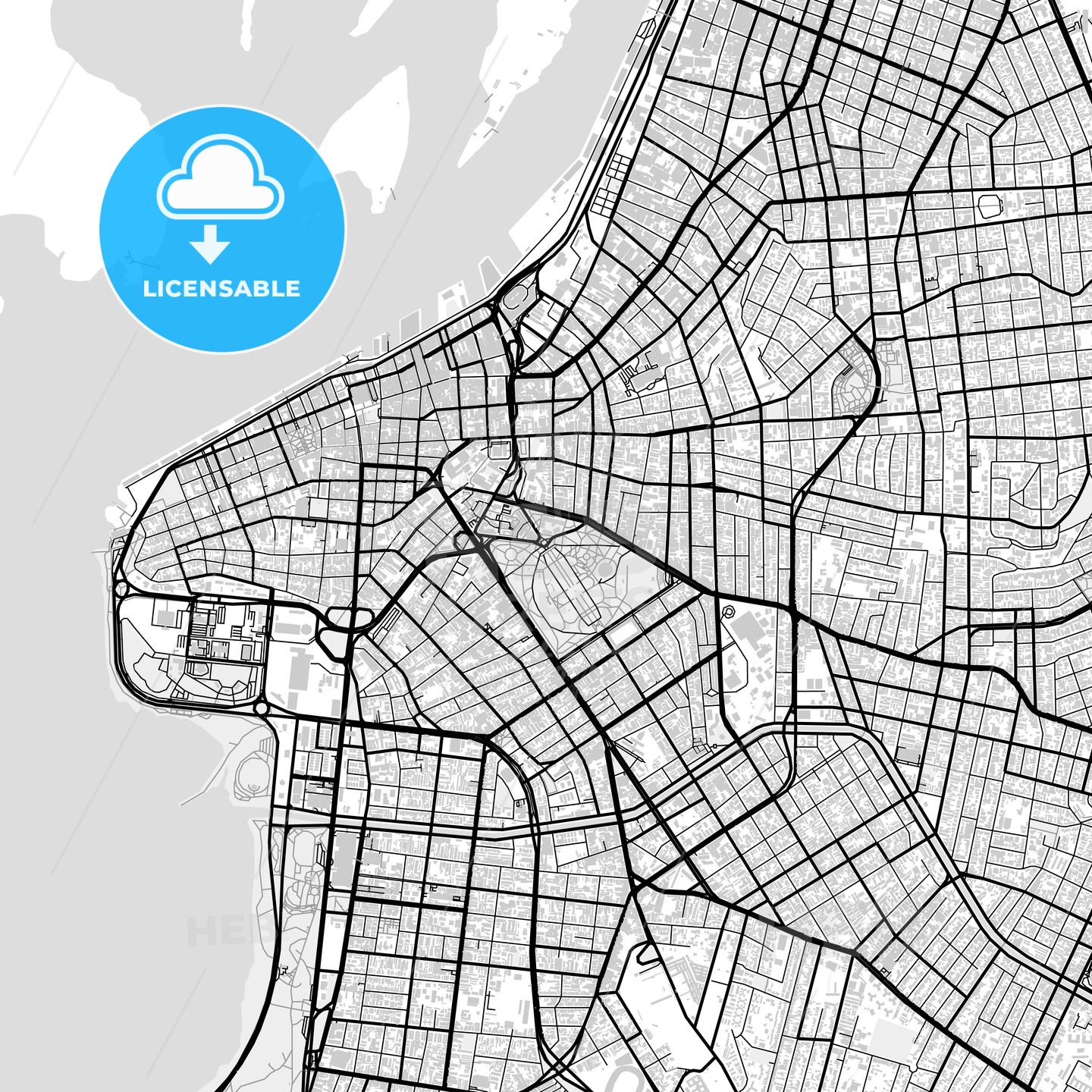 Downtown vector map of Porto Alegre - HEBSTREITS