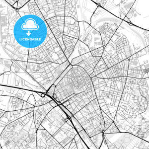 Downtown vector map of Reims - HEBSTREITS