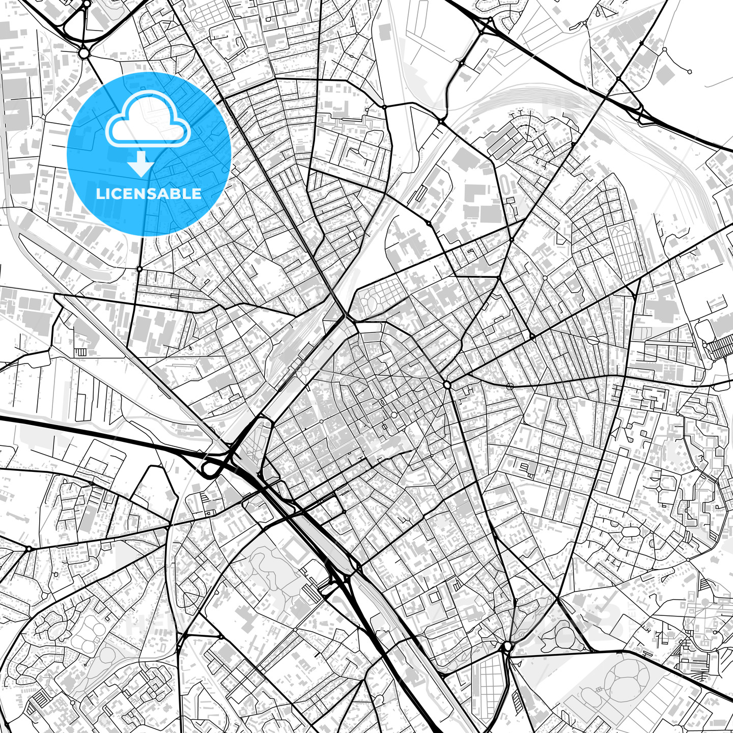 Downtown map of Reims, light | HEBSTREITS