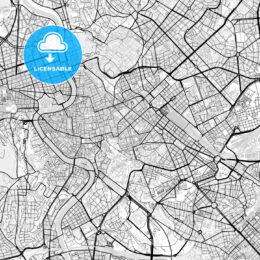 Downtown map of Rome, light