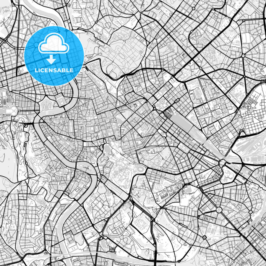Downtown vector map of Rome - HEBSTREITS